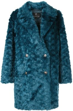 textured double-breasted coat - Blue