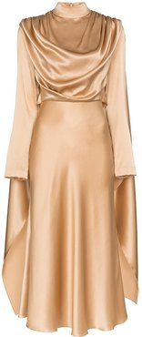 draped silk dress - NEUTRALS