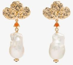 gold-plated pearl drop earrings