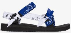 Blue and White Bandana knotted Flat Sandals