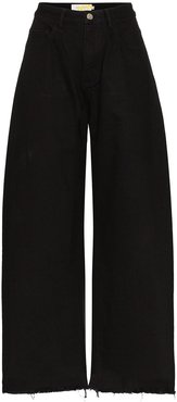 high-rise wide-leg jeans - Black