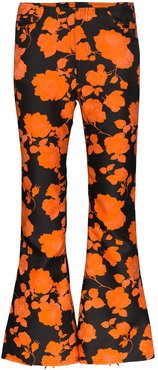 floral print cropped flared trousers - Black