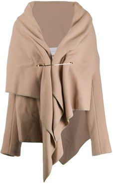 draped short coat - Neutrals