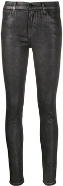 faux-leather skinny trousers - SILVER
