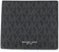 logo print billfold wallet - Black