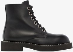 black lace-up leather boots