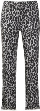 cheetah pattern cropped trousers - Grey