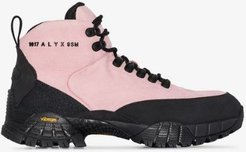pink logo print leather hiking boots