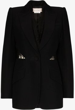 lace insert single-breasted blazer