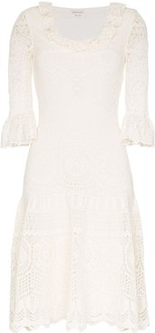 crochet frill fit and flare dress - White