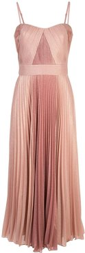 pleated metallic mid-length dress - PINK