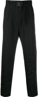 belted cropped trousers - Black