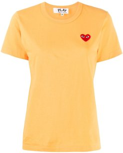 logo embroidered crew neck T-shirt - Yellow
