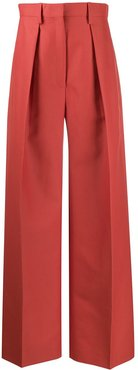 pleated details palazzo trousers - ORANGE