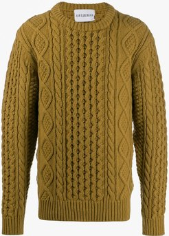 cable knit crew neck jumper - Green