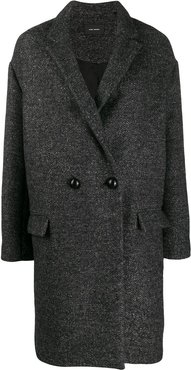 boxy fit double breasted coat - Grey