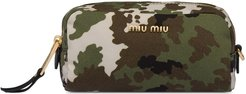 camouflage print faille zipped pouch - Green