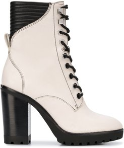 lace-up high heel boots - NEUTRALS
