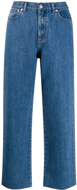 cropped straight leg jeans - Blue