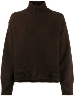 cashmere roll-neck knitted jumper - Brown