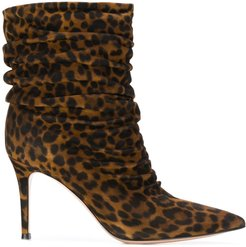 Cecile ruched ankle boots - Brown
