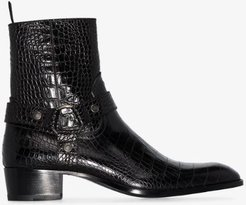 black wyatt mock croc leather boots