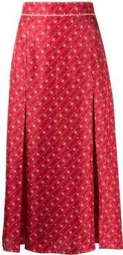 FF Karligraphy pleated midi skirt - Red
