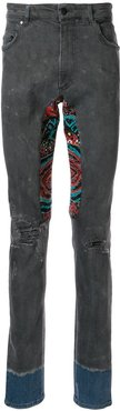 embroidered patchwork skinny jeans - Blue