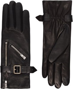 Barbra buckled leather gloves - Black