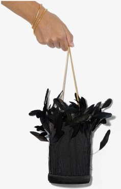 Black L'Envol feather silk bucket bag