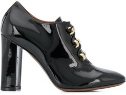 patent lace-up high heel shoes - Black