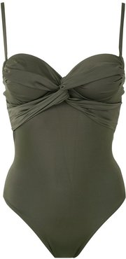 twisted detail swimsuit - Green