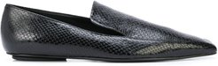 embossed square-toe loafers - Black