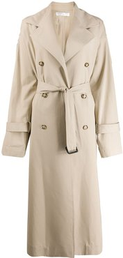 double-breasted long trench coat - Neutrals