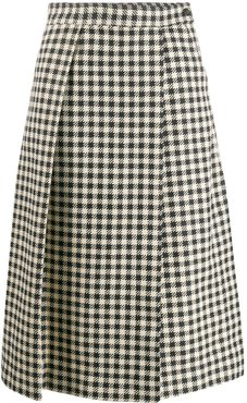 houndstooth print pleated skirt - Neutrals