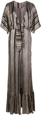 metallic stripe maxi dress - Black