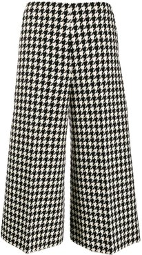 houndstooth print cropped trousers - Black