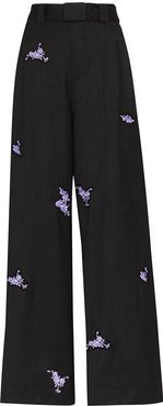 floral-embroidered trousers - Grey