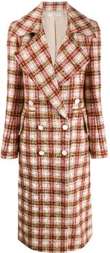 double-breasted tweed coat - White