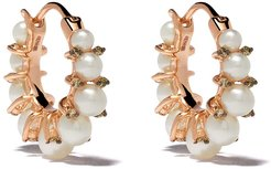 18kt rose gold diamond pearl hoops - 18ct Rose Gold