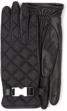 quilted buckle gloves - Black