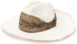 scarf-embellished straw hat - White