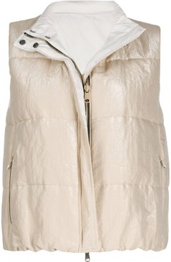 metallized reversible gilet - NEUTRALS