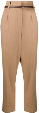 belted cropped trousers - Neutrals
