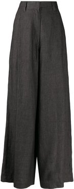 high-waisted palazzo trousers - Grey