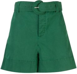 belted wide-leg shorts - Green