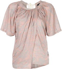 palm printed overlapped T-shirt - PINK