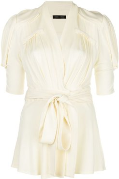pleated wrap top - Yellow