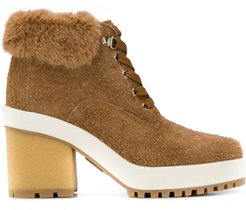 faux fur ankle boots - NEUTRALS