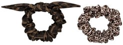 patterned scrunchie set - Brown
